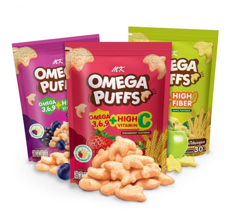 MK Omega Puffs คละรส 3 ซอง (แอปเปิ้ล 1 ซอง + มิกซ์เบอร์รี่ 1 ซอง +สตรอเบอร์รี่ 1 ซอง)