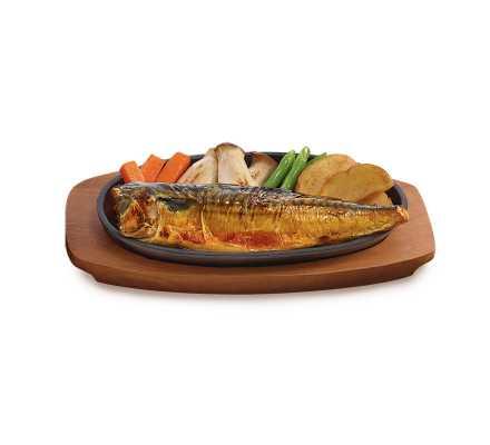 ปลาซาบะย่างซีอิ๊วกระทะร้อน(อาหารจานเดียว)